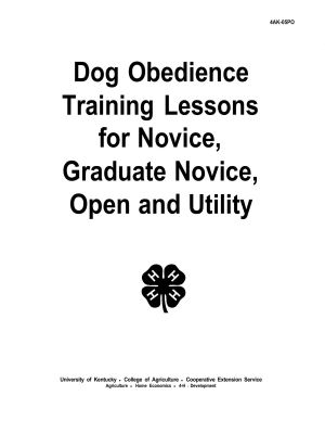 Dog Obedience Training Lessons for Novice, Graduate Novice, Open and Utility